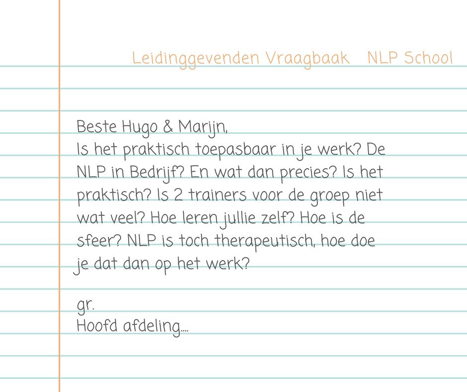 Leidinggevenden vraagbaak nlpschool Axis Consultancy nlp in bedrijf
